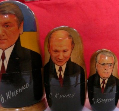Die Präsidenten der Ukraine, v.l.: Wiktor Juschtschenko (seit 2005), Leonid Kutschma (1994-2005), Leonid Krawtschuk (1991-1994)